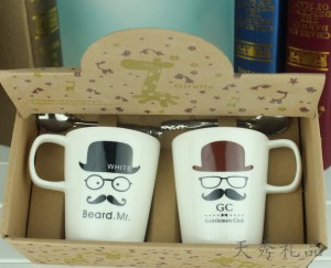 胡子陶瓷杯情侣对杯