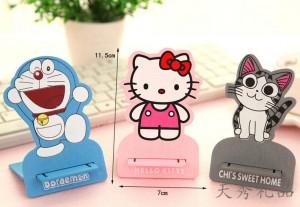 床头桌面可爱卡通小动物木质手机支架